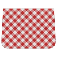 Picnic Gingham Red White Checkered Plaid Pattern Buckle Messenger Bag
