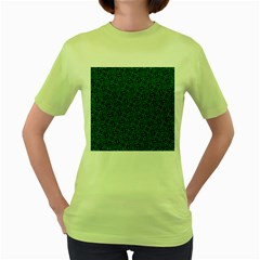 Green Intricate Pattern Women s Green T-shirt by SpinnyChairDesigns
