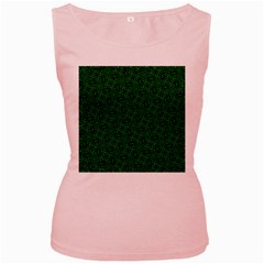 Green Intricate Pattern Women s Pink Tank Top by SpinnyChairDesigns