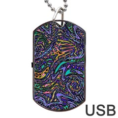Multicolored Abstract Art Pattern Dog Tag Usb Flash (one Side) by SpinnyChairDesigns