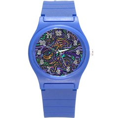 Multicolored Abstract Art Pattern Round Plastic Sport Watch (s)