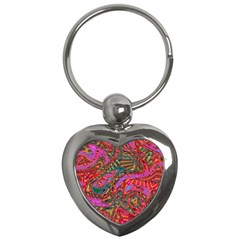 Abstract Art Multicolored Pattern Key Chain (heart) by SpinnyChairDesigns
