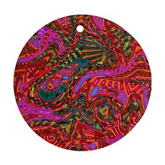 Abstract Art Multicolored Pattern Round Ornament (two Sides) by SpinnyChairDesigns