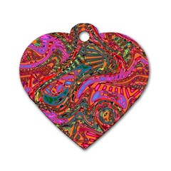Abstract Art Multicolored Pattern Dog Tag Heart (one Side) by SpinnyChairDesigns