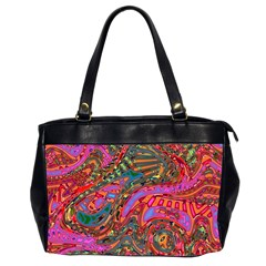 Abstract Art Multicolored Pattern Oversize Office Handbag (2 Sides) by SpinnyChairDesigns