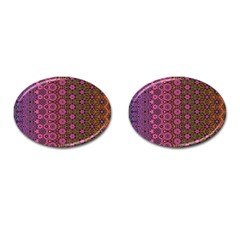 Abstract Retro Floral Stripes Pattern Cufflinks (oval) by SpinnyChairDesigns
