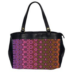 Abstract Retro Floral Stripes Pattern Oversize Office Handbag (2 Sides) by SpinnyChairDesigns
