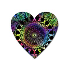 Colorful Rainbow Colored Arabesque Mandala Kaleidoscope  Heart Magnet by SpinnyChairDesigns