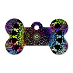 Colorful Rainbow Colored Arabesque Mandala Kaleidoscope  Dog Tag Bone (one Side) by SpinnyChairDesigns