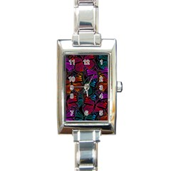 Colorful Monarch Butterfly Pattern Rectangle Italian Charm Watch by SpinnyChairDesigns
