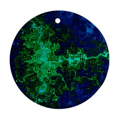 Abstract Green And Blue Techno Pattern Round Ornament (two Sides)