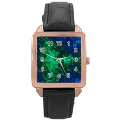 Abstract Green And Blue Techno Pattern Rose Gold Leather Watch