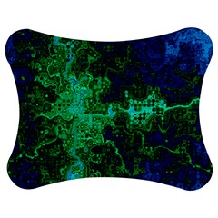 Abstract Green And Blue Techno Pattern Jigsaw Puzzle Photo Stand (bow) by SpinnyChairDesigns