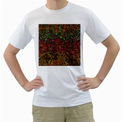 Stylish Fall Colors Camouflage Men s T-shirt (white) (two Sided) by SpinnyChairDesigns