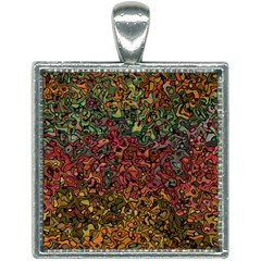 Stylish Fall Colors Camouflage Square Necklace by SpinnyChairDesigns