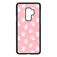 Animal Cat Dog Prints Pattern Pink White Samsung Galaxy S9 Plus Seamless Case(black) by SpinnyChairDesigns