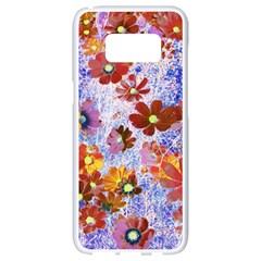 Cosmos Flowers Brown Samsung Galaxy S8 White Seamless Case