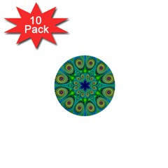 Peacock Mandala Kaleidoscope Arabesque Pattern 1  Mini Buttons (10 Pack)  by SpinnyChairDesigns