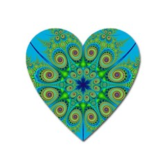 Peacock Mandala Kaleidoscope Arabesque Pattern Heart Magnet by SpinnyChairDesigns