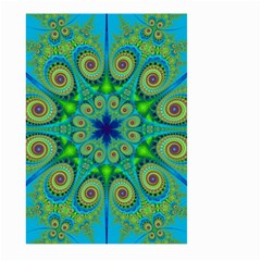 Peacock Mandala Kaleidoscope Arabesque Pattern Large Garden Flag (two Sides) by SpinnyChairDesigns