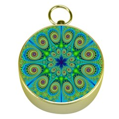 Peacock Mandala Kaleidoscope Arabesque Pattern Gold Compasses by SpinnyChairDesigns
