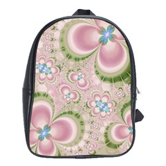 Pastel Pink Abstract Floral Print Pattern School Bag (xl)
