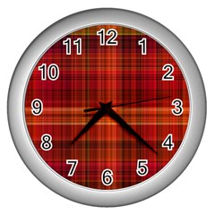 Red Brown Orange Plaid Pattern Wall Clock (silver)