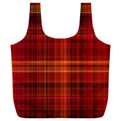 Red Brown Orange Plaid Pattern Full Print Recycle Bag (xxxl)