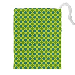 Green Polka Dots Spots Pattern Drawstring Pouch (2xl) by SpinnyChairDesigns