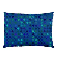 Blue Polka Dots Pattern Pillow Case by SpinnyChairDesigns