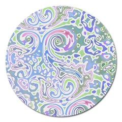 Colorful Pastel Floral Swirl Watercolor Pattern Magnet 5  (round) by SpinnyChairDesigns