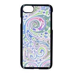 Colorful Pastel Floral Swirl Watercolor Pattern Iphone 8 Seamless Case (black)