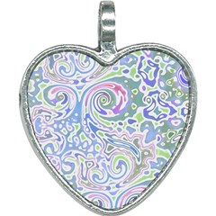 Colorful Pastel Floral Swirl Watercolor Pattern Heart Necklace by SpinnyChairDesigns