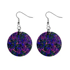 Purple Abstract Butterfly Pattern Mini Button Earrings by SpinnyChairDesigns