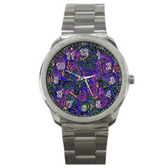 Purple Abstract Butterfly Pattern Sport Metal Watch by SpinnyChairDesigns