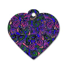 Purple Abstract Butterfly Pattern Dog Tag Heart (one Side) by SpinnyChairDesigns
