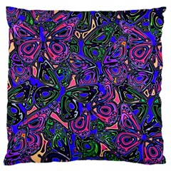 Purple Abstract Butterfly Pattern Large Cushion Case (two Sides) by SpinnyChairDesigns