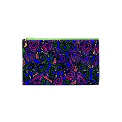 Purple Abstract Butterfly Pattern Cosmetic Bag (xs) by SpinnyChairDesigns
