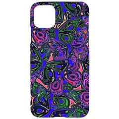 Purple Abstract Butterfly Pattern Iphone 11 Pro Max Black Uv Print Case by SpinnyChairDesigns