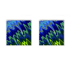 Blue Green Zig Zag Waves Pattern Cufflinks (square) by SpinnyChairDesigns