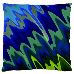 Blue Green Zig Zag Waves Pattern Standard Flano Cushion Case (two Sides)