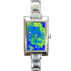 Neon Green Blue Grunge Texture Pattern Rectangle Italian Charm Watch by SpinnyChairDesigns