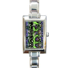 Green And Black Abstract Pattern Rectangle Italian Charm Watch by SpinnyChairDesigns