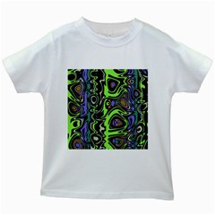 Green And Black Abstract Pattern Kids White T-shirts by SpinnyChairDesigns