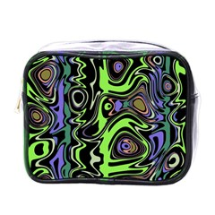 Green And Black Abstract Pattern Mini Toiletries Bag (one Side) by SpinnyChairDesigns