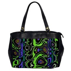 Green And Black Abstract Pattern Oversize Office Handbag by SpinnyChairDesigns
