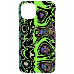 Green And Black Abstract Pattern Iphone 11 Pro Black Uv Print Case by SpinnyChairDesigns