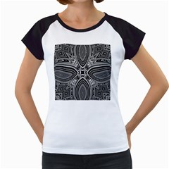 Black And White Intricate Pattern Women s Cap Sleeve T by SpinnyChairDesigns