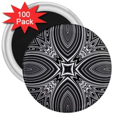 Black And White Intricate Pattern 3  Magnets (100 Pack) by SpinnyChairDesigns