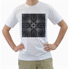 Black And White Intricate Pattern Men s T-shirt (white) (two Sided) by SpinnyChairDesigns